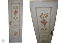 Ρετρό Με Ζωγραφική Παλαίωση Πόρτες Ρόζα