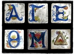 Γράμματα Ρετρό Ντεκόρ Χειροποίητα Πλακάκια Ζωγραφική