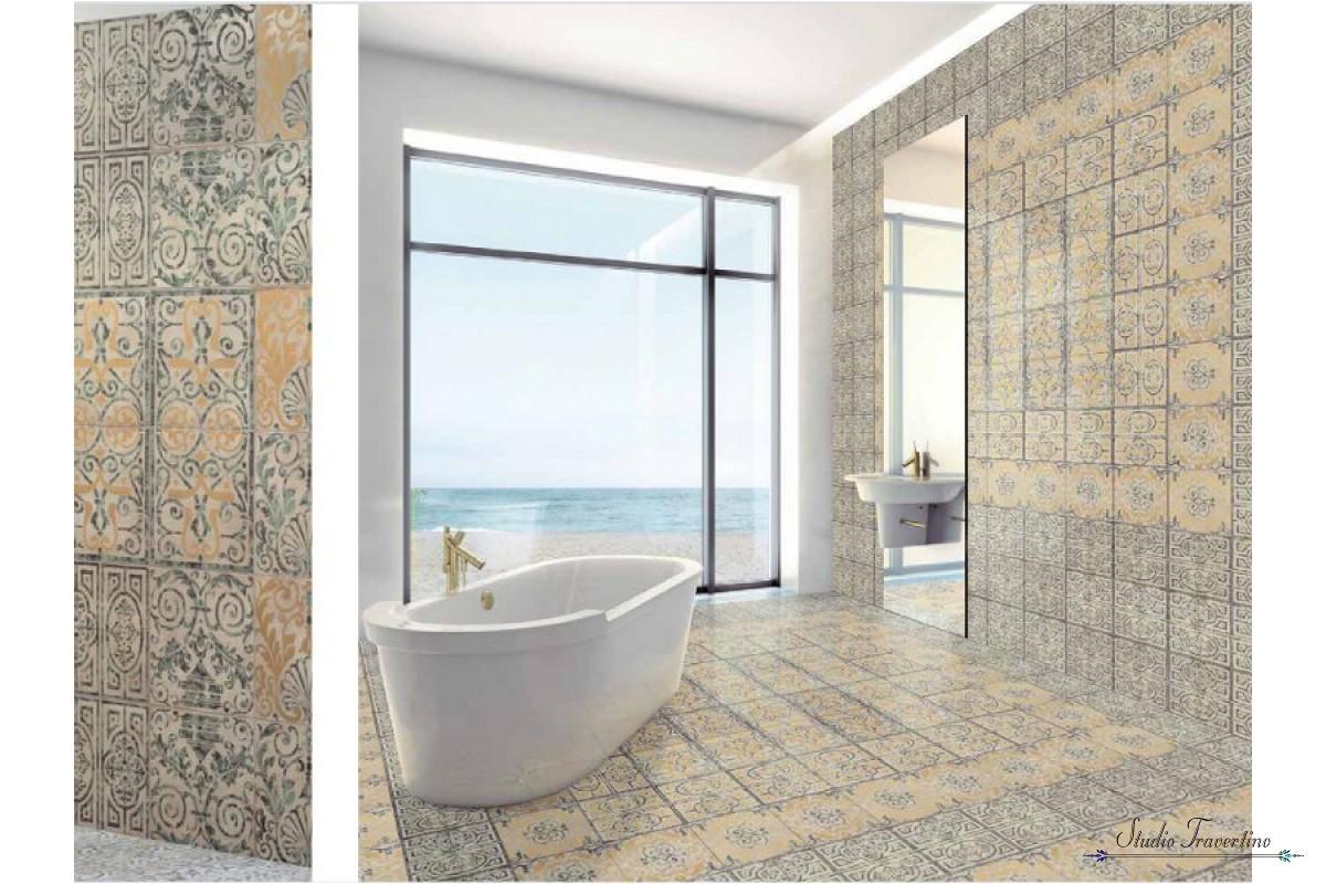 Vintage Retro Tiles Bathroom Floor Ornamenti Decoration