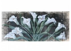 Ζωγραφική Κρίνοι Λουλούδια Ντεκόρ Κουζίνας Σε Πλακάκια Τραβερτίνο