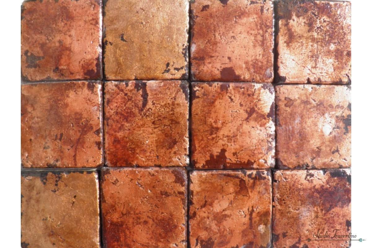 Rustic Copper Tiles And Travertine 96 X Cm