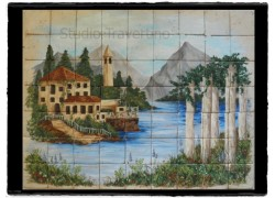 Travertino χειροποίητη παράσταση ντεκόρ πλακάκια κουζίνας μπάνιου μοναστήρι