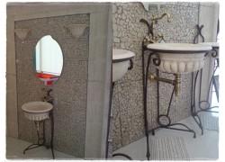 Μπάνιου νιπτήρες αντικέ κλέων χειροποίητοι με βάσεις δαπέδου μεταλλικές σετ ρώμη